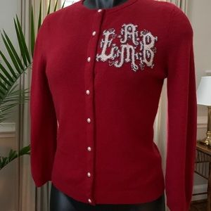 L.A.M.B. Beaded Red Cashmere Cardigan Sweater